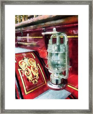 Fireman - Lantern On Old Fire Truck Framed Print by Susan Savad