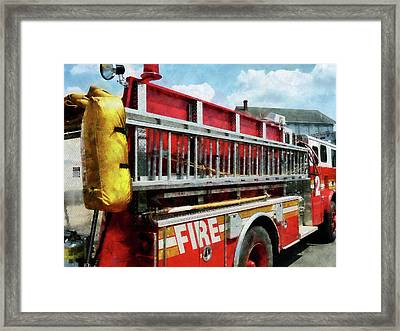 Fireman - Long Ladder On Fire Truck Framed Print by Susan Savad