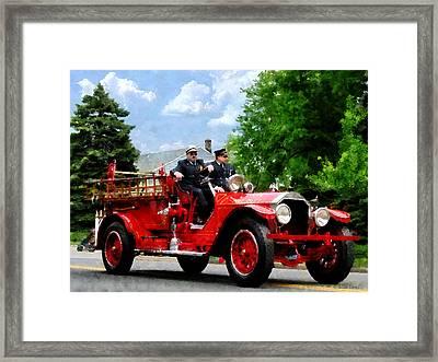 Fireman - Old Fashioned Fire Engine Framed Print