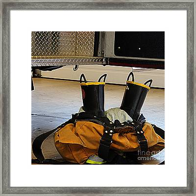 Fireman Ready To Go Framed Print