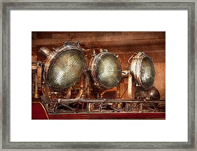 Fireman - Search Lights  Framed Print by Mike Savad