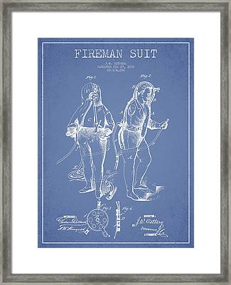 Fireman Suit Patent Drawing From 1826 Framed Print by Aged Pixel