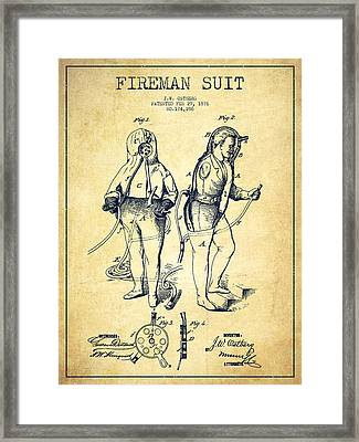 Fireman Suit Patent Drawing From 1826 - Vintage Framed Print by Aged Pixel