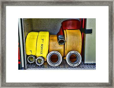 Fireman - The Fire Hose Framed Print