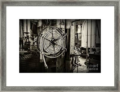 Fireman - Vintage Fire Hose In Black And White Framed Print by Paul Ward