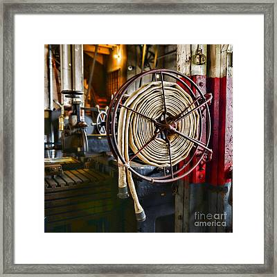 Fireman - Vintage Fire Hose Framed Print by Paul Ward