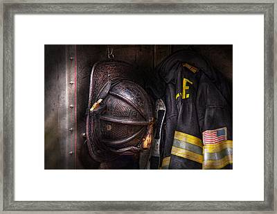 Fireman - Worn And Used Framed Print by Mike Savad