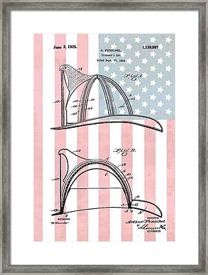 Fireman's Helmet American Flag Framed Print by Dan Sproul