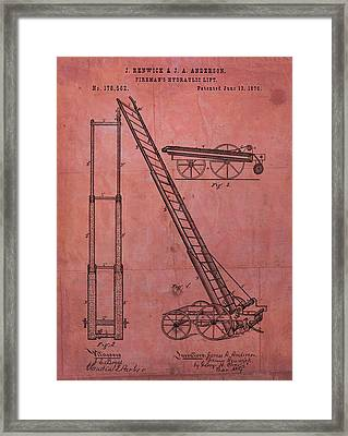 Fireman's Hydraulic Lift Patent Framed Print by Dan Sproul