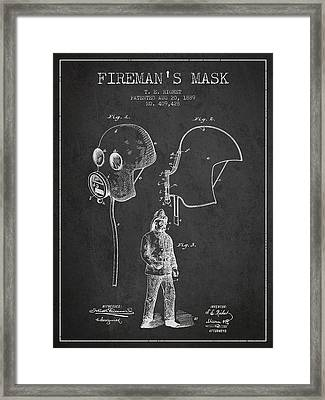 Firemans Mask Patent From 1889 - Dark Framed Print by Aged Pixel