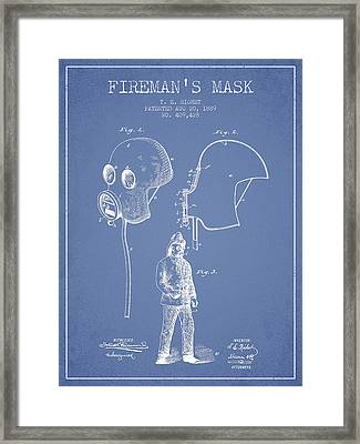 Firemans Mask Patent From 1889 - Light Blue Framed Print by Aged Pixel