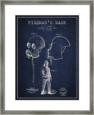 Firemans Mask Patent From 1889 - Navy Blue Framed Print by Aged Pixel