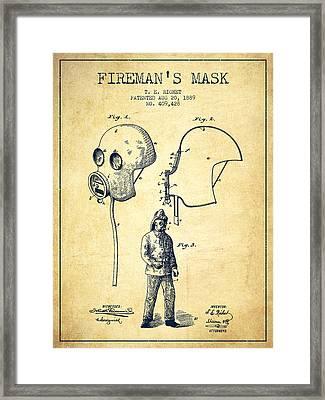 Firemans Mask Patent From 1889 - Vintage Framed Print