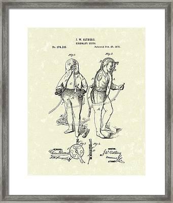 Fireman's Suits 1876 Patent Art Framed Print