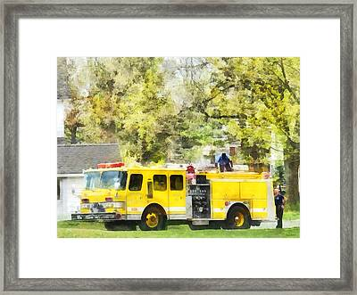 Firemen - Back At The Firehouse Framed Print by Susan Savad