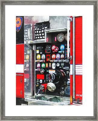 Firemen - Colorful Gauges On Fire Truck Framed Print by Susan Savad
