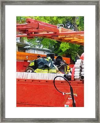 Firemen - Uniform In Back Of Vintage Fire Truck Framed Print
