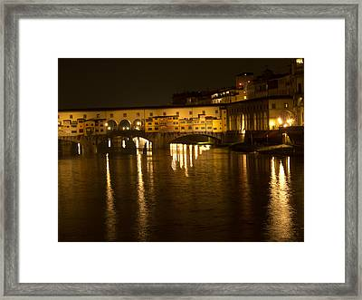 Firenza Florence Italy Ponte Vecchio At Night Framed Print