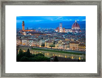 Firenze By Night Framed Print by Inge Johnsson