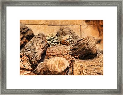 Fireplace Logs Framed Print by Linda Phelps