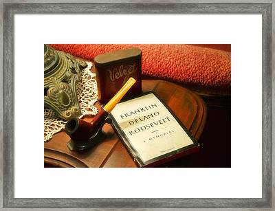 Fireside Chats With Fdr 05 With A Pipe And Book Framed Print by Thomas Woolworth