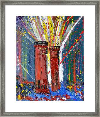 Framed Print featuring the painting Firetowers Fireworks by Leslie Byrne