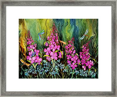 Fireweed And Dragonflies Framed Print by Teresa Ascone