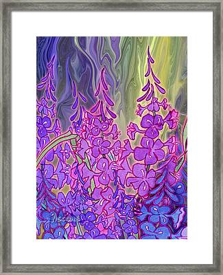 Framed Print featuring the mixed media Fireweed Medley by Teresa Ascone