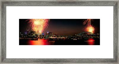 Firework Display At New Years Eve Framed Print by Panoramic Images