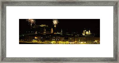 Firework Display Over A Fort Framed Print by Panoramic Images