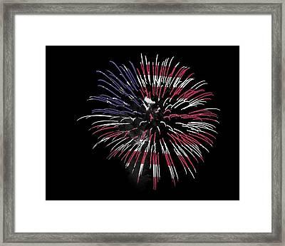 Firework Over Flag Framed Print by Robert Graybeal