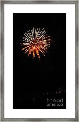 Fireworks - White And Orange Framed Print by Gayle Melges