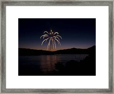 Framed Print featuring the photograph Fireworks 11 by Sonya Lang