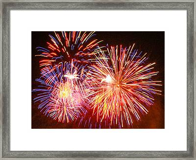 Framed Print featuring the photograph Fireworks 4th Of July by Robert Hebert