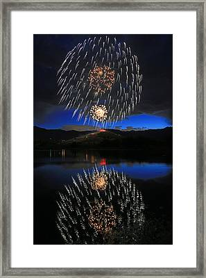 Fireworks Above Memorial Hill. Framed Print by Johnny Adolphson