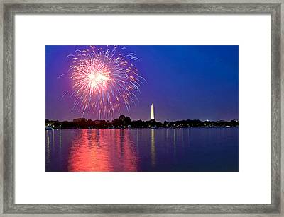 Fireworks Across The Potomac Framed Print by Steven Barrows
