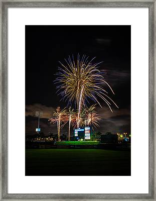 Fireworks And Baseball Framed Print
