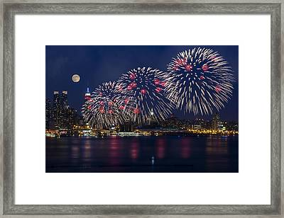 Fireworks And Full Moon Over New York City Framed Print by Susan Candelario