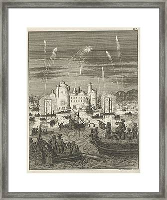 Fireworks And Gondolas In Cairo, Egypt, Jan Luyken Framed Print