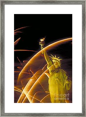 Fireworks And The Statue Of Liberty Framed Print by Andy Levin