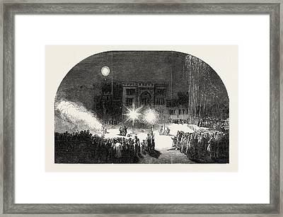Fireworks At Birr Castle, Parsonstown, The Seat Of The Earl Framed Print