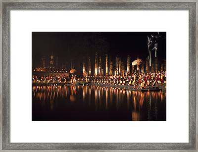 Fireworks At Festival In Thailand Framed Print by Richard Berry