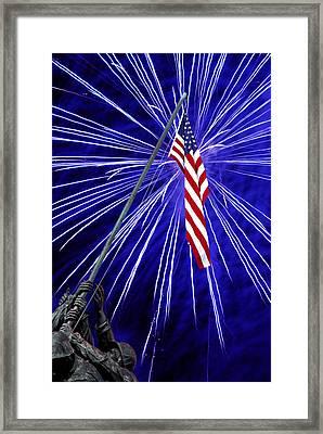 Fireworks At Iwo Jima Memorial Framed Print by Francesa Miller