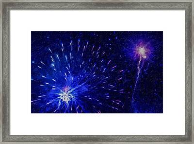 Fireworks At Night 1 Framed Print by Lanjee Chee