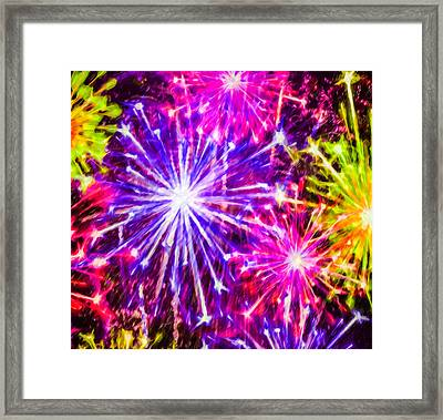 Fireworks At Night 7 Framed Print by Lanjee Chee