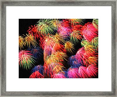 Fireworks At Night Framed Print by Lanjee Chee