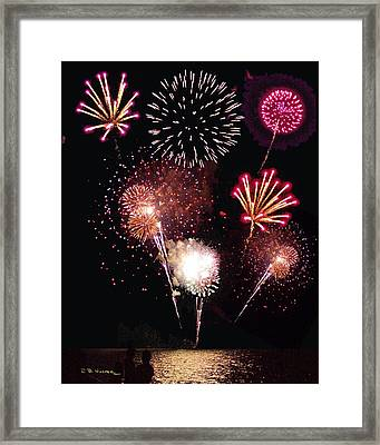Framed Print featuring the photograph Fireworks At St. Albans Bay by R B Harper
