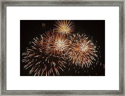 Fireworks At The Albuquerque Hot Air Framed Print by William Sutton