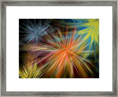 Framed Print featuring the digital art Fireworks by Christine Fournier