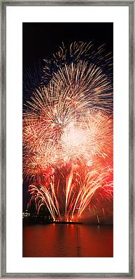 Fireworks Display Against Night Sky Framed Print by Panoramic Images